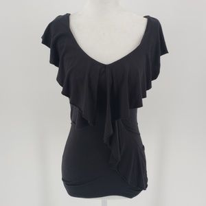 Bebe black and beaded ruffle fitted top Sz XS